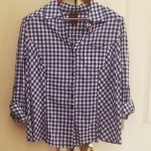 Torrid Blue Gingham Button Down Shirt 0x (M/L)